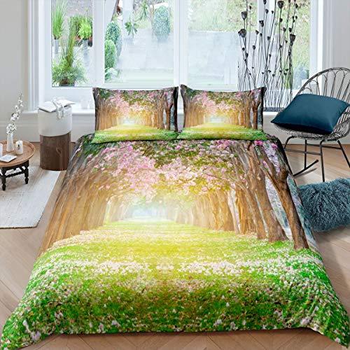 Loussiesd, set di biancheria da letto con fiori di ciliegio e copripiumino per bambini e donne con motivo floreale botanico, copriletto a tema giardino, 3 pezzi, matrimoniale, cerniera