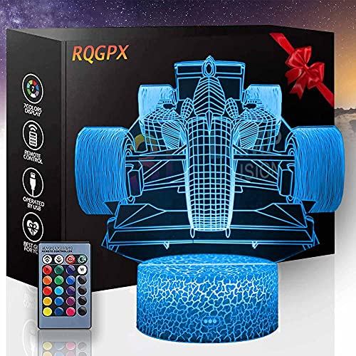 Lámpara de noche LED de ilusión 3D F1 Fórmula de luz de noche para niños Auto Cambio Ilusión Lámpara Decoración de Mesa Luz para Niños Niños Niñas