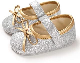 TIMATEGO Baby Girl Mary Jane Flats Shoes Sparkle Non Slip Soft Sole Infant Toddler First Walker Dress Princess Wedding Crib Shoes
