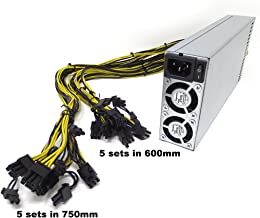 Bgears b-PowerMiner 2400W 1U Antminer PSU APW3+ 10 x PCIe 6+2 Pin connectors Extended Cable 5 Sets in 600mm 5 Sets in 750mm