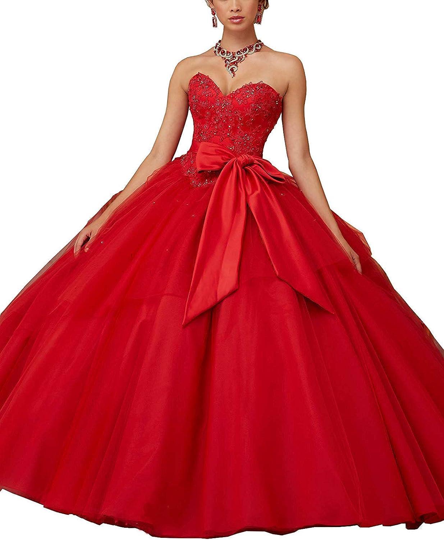 Liyuke Elegant Ball Gown Quinceanera Dress Beaded Sweep Train Formal Dress Sash