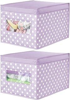 mDesign boîte de rangement en tissu (lot de 2) – panier de rangement empilable pour vêtements ou chaussures – bac de range...