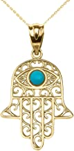 Fine 10k Yellow Gold Hamsa Hand with Blue Stone Evil Eye Pendant Necklace