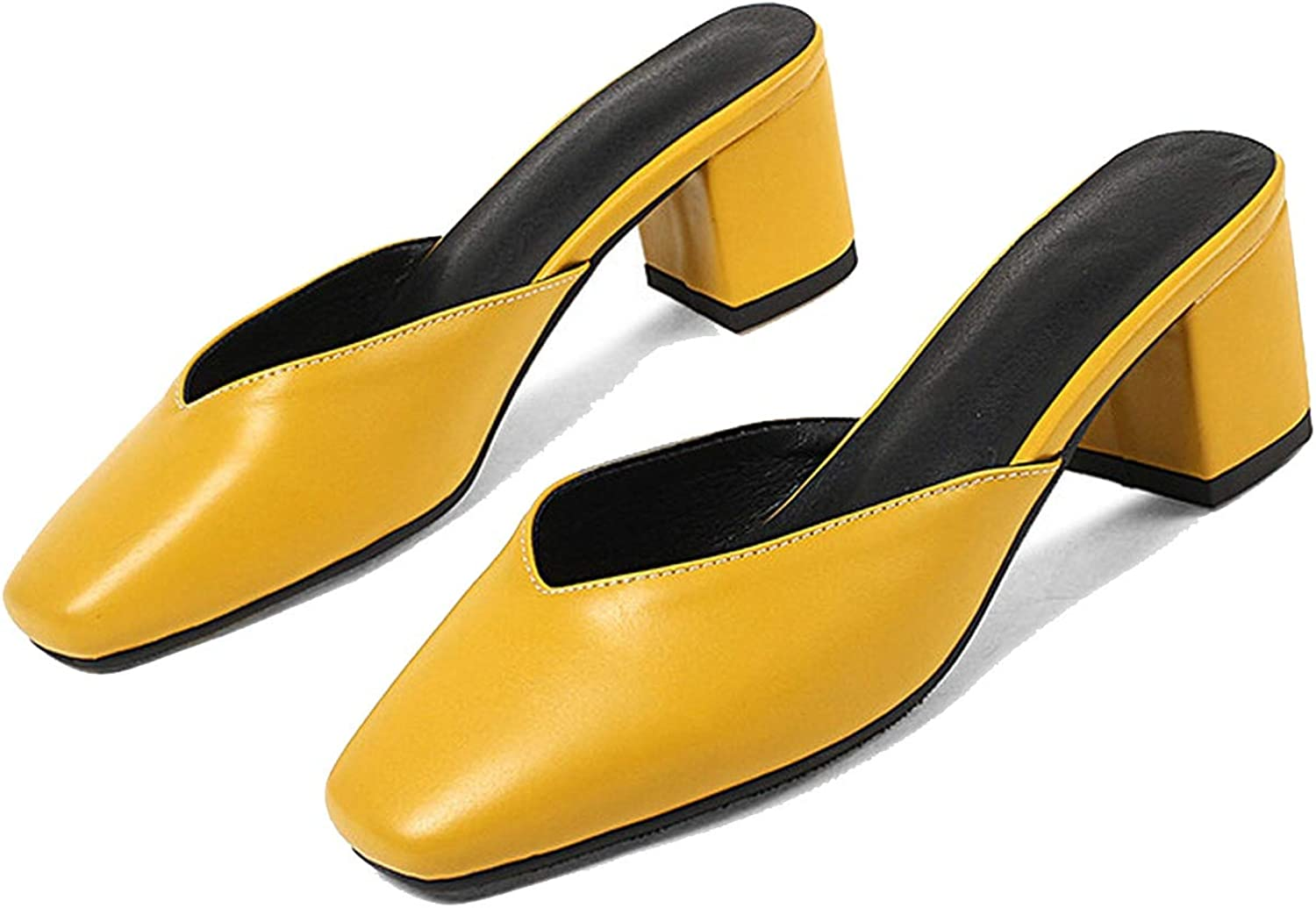 Women Pumps Solid colors Summer shoes Slip on Square high Heels shoes Female Casual Mules shoes Yellow,12