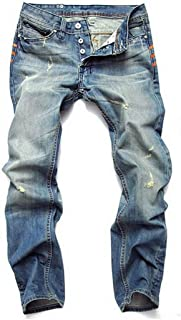 Michealboy Men's Straight-fit Jeans Ripped Button Closure Mid Rise