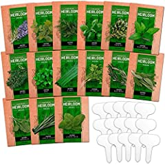LOOKING FOR THE 15 MOST POPULAR CULINARY HERBS WITH 15 BONUS PLANT MARKERS? - Stop buying dry, stale, flavorless dry herbs and start growing your own herb garden indoors or outdoors. Nothing compares to fresh herb plants and a beautiful garden. Great...