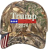 AmazingShirts Trump 2024 US Flag Embroidered Camo Structured Adjustable One Size Fits All Hat (305)