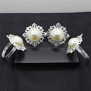 Napkin Rings - Table Decoration 6pcs Pearl Napkin Rings Luxury Rhinestone Decorations - Holders Dark Blue Magnolia Fall Pearl Mother Rosegold Lucite Disposable Galvanized Horn Brown Bulk Mo