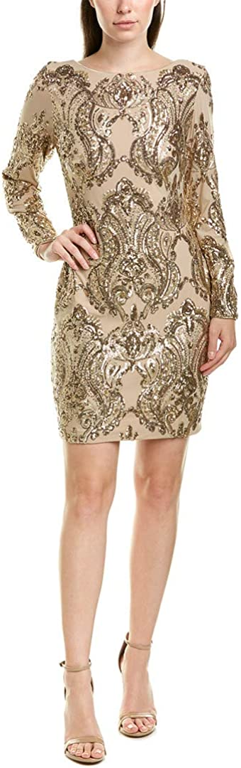 Dress the Max 43% OFF Population Manufacturer OFFicial shop Women's Lola Sequin Long Sleeve Nude