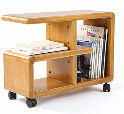 LiRuiPengBJ GWDJ Side Table, Solid Wood Movable Multifunction Side Table Large Capacity Storage Small Coffee