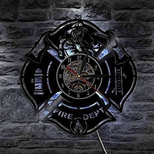 Decoratieve kunst aan de muur brandweerman licht uniek cadeau-idee voor wandklok van de brandweerman vinylplaat