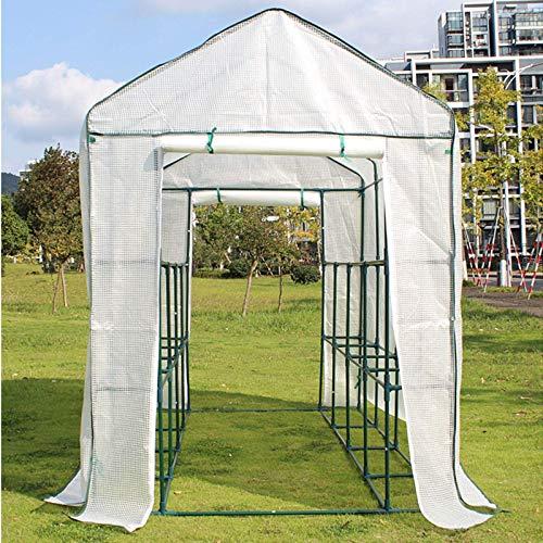 BBZZ Walk In - Tienda de campaña de invernadero grande con estantes de acero, 3 niveles para exteriores, resistente, portátil, cubierta de polietileno blanco (tamaño: 210 x 140 x 195 cm)