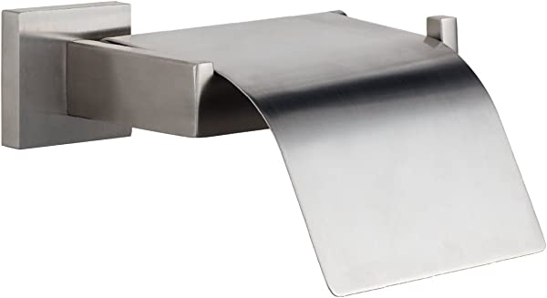 MAYKKE TriBeCa Stainless Steel Toilet Paper Holder With Cover Modern Toilet Tissue Roll Storage Wall Mounted For Bathroom Lavatory Shower Brushed Nickel KYA1000101