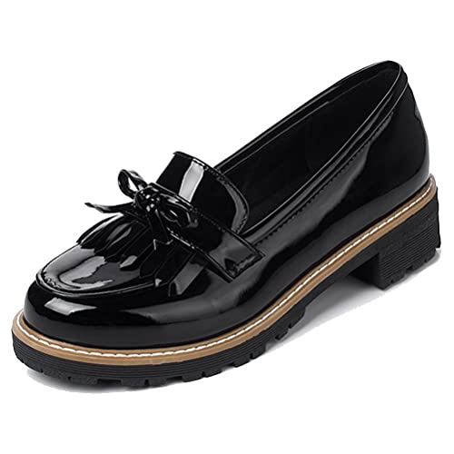 HiTime Women s Cute Tassels Waterproof Loafers School Teens Girls Oxfords  Dress Flats Shoes Size 2- 6af1fd1ccd