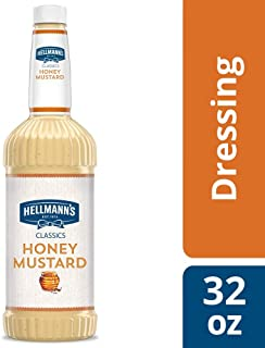 Hellmann's Classics Honey Mustard Salad Dressing Salad Bar Bottles Gluten Free, No Artificial Flavors or High Fructose Corn Syrup, Colors from Natural Sources, 32 oz, Pack of 6