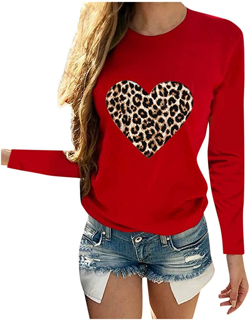 Women Long Sleeve Sweatshirt Heart-Shaped Leopard Print Tops Round Neck Basic Blouse Large Size Loose Pullover