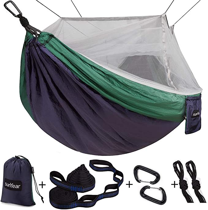 Sunyear Single & Double Camping Hammock with Net - The Best With Mosquito Net