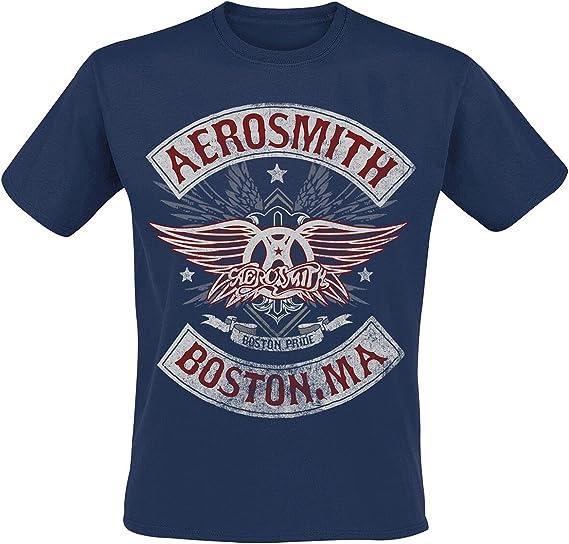 Aerosmith Boston Pride Hombre Camiseta Azul Marino, Regular