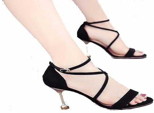GTVERNH Chaussures pour Femmes de 8 Cm De Talon Haut avec De Fines Sandales Summer Boucles Croix Boucles Les Sangles Les Maigres De Chaussures.