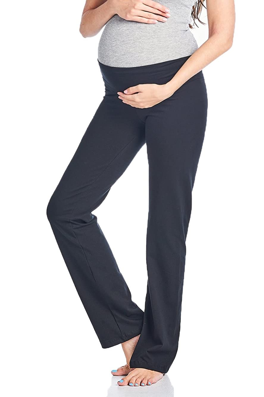 Beachcoco Women's Maternity Fold Over Comfortable Lounge Pants Made in USA