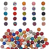 PH PandaHall 100pcs 10mm Rhinestones Pave Disco Ball Clay Beads Mixed Color Polymer Clay Rhinestone Beads Round Charms for Summer Bling Jewelry Making