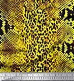 Soimoi Grun Baumwolljersey Stoff Leopard & Schlange