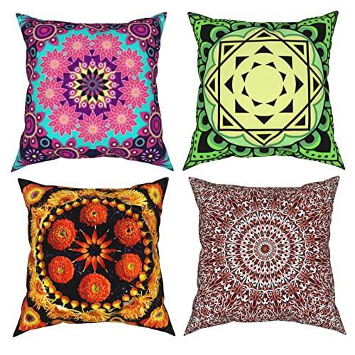 Fundas de almohada decorativas con diseño floral de mandala de flores coloridas de 18 x 18 pulgadas, fundas de cojín cuadradas, 4 unidades para el hogar, sofá, dormitorio, sala de estar