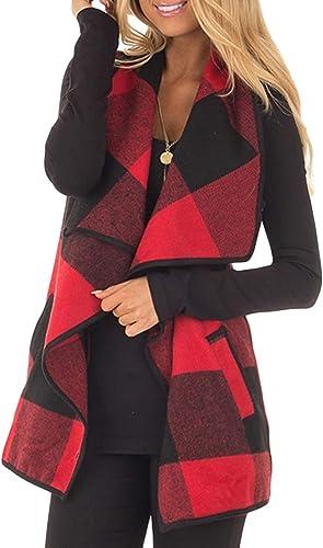 Yacun Women Vest Lapel Open Front Buffalo Plaid Sleeveless Cardigan Jacket Coat with Pockets