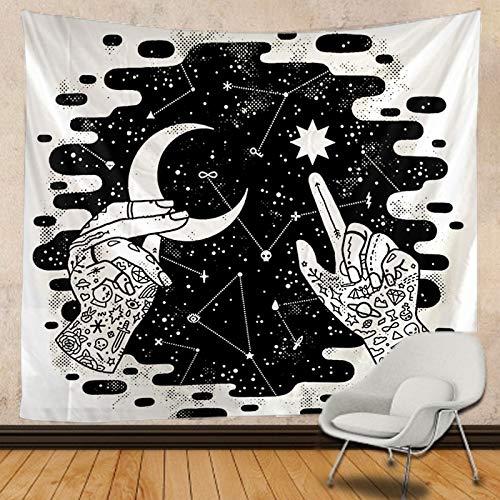 PPOU Tapiz de Luna en Blanco y Negro Mandala Colgante de Pared decoración de Pared Manta Bohemia Hippie Tela Colgante A3 73x95cm