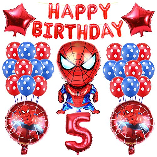 Nesloonp Superhelden-Geburtstagsdekorations-Kit,Spider Man-Partyzubehör,Spider Man-Latexballons/Aluminiumfolienfilmballon/Partybanner,Superhelden-Partydekorationen für...