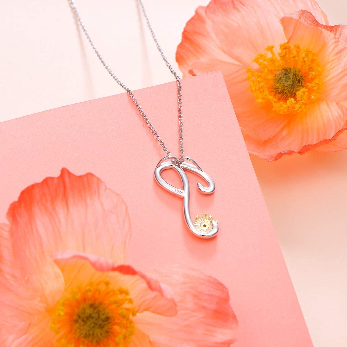Sterling Silver Gold Tone Sunflower Initial 26 Letter Script Name Alphabet A to Z Necklace Personalized Pendant