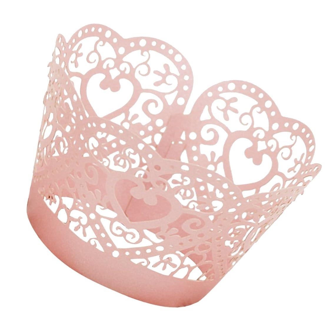 乗り出す災害不明瞭【ノーブランド品】組み立てる ハート形 ケーキ ペーパー ラップ カップケーキ ラッパー 約50個 全4色選ぶ - ピンク