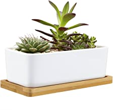 Mkono 6.5-Inch Rectangular Succulent Plant Pot with Bamboo Tray Creamic Cactus Planter Modern Window Box with Drainage Hole, White