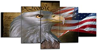 Yetaryy 5 Panels Retro Patriotic Wall Art Painting American USA Eagles Flag Pattern Pictures Prints on Canvas Giclee Artwork Modern Gallery-Wraped Prinst and Posters Wall Hanging (60''W x 32''H)