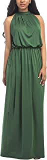 WIWIQS Women's Halter Loose A-line Casual Maxi Dress Plus Size Party Club Long Dresses