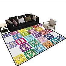 Non-Slip Carpet Educational,Colorful Lower Case Alphabet Blocks Cute Kids Font ABC Cartoon Style Typography, Multicolor