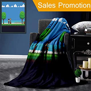 """Unique Custom Flannel Blankets Pixel Art Game Scene with Ground Grass Trees Sky Clouds Character Coins Treasure Chests and Super Soft Blanketry for Bed Couch, Throw Blanket 50"""" x 60"""""""