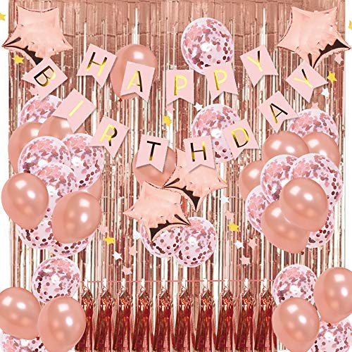Rose Gold Birthday Party Decorations KIT - Happy Birthday Banner, Metallic Tinsel Foil Fringe Curtains for Birthday Party Rose Gold confetti balloons with pink star flags