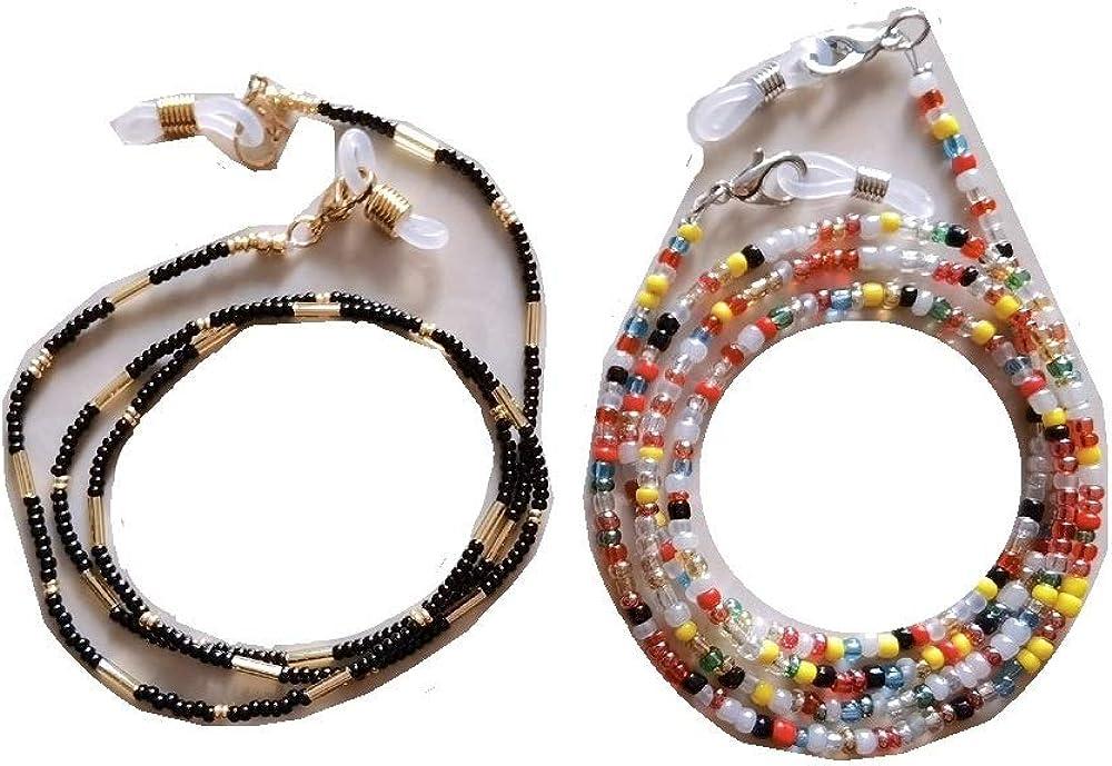 Oklahoma City Mall 2PCS Multi-Colour Beaded Eyeglasses Chain Necklace Tampa Mall Anti-slip