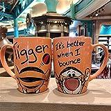 Tangmein 530Ml Disney Mickey Mouse Cartoon Tazze in Ceramica Minnie Paperino Pooh Maiale Tazza da Latte in Ceramica Tazze E Tazze Tazza da caffè Tazza da Viaggio-Tiger_501-600Ml