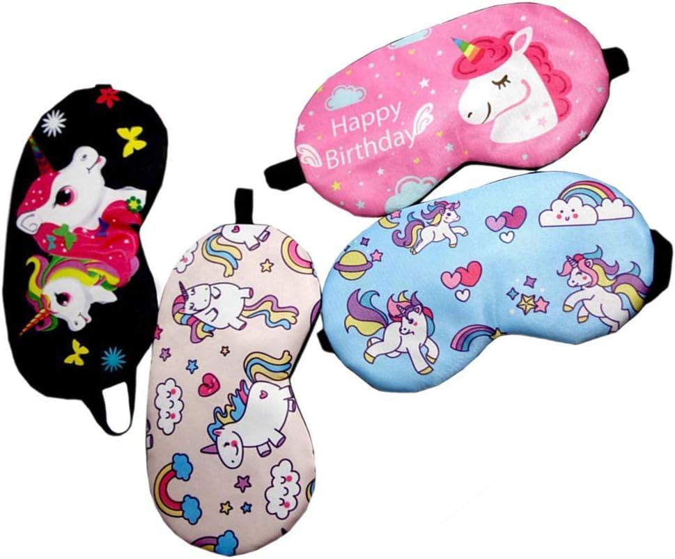 Frcolor - 4 antifaz para dormir, diseño de unicornio, para dormir, para niños (negro + rosa rojo + rosa + azul)