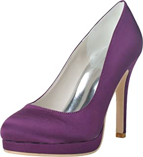 Vimedea Womens Round Toe Platform Heeled Slip On Dress Pump Wedding Prom Party 6915-02
