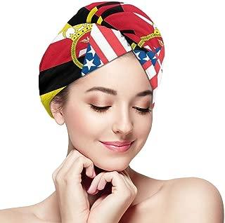 Toallas para el cabello con bandera americana y de Brunei Wrap Print Microfibra Sombrero para el cabello seco Gorro de baño envuelto Gorro absorbente Se adapta a la mayoría de los tipos de cabello