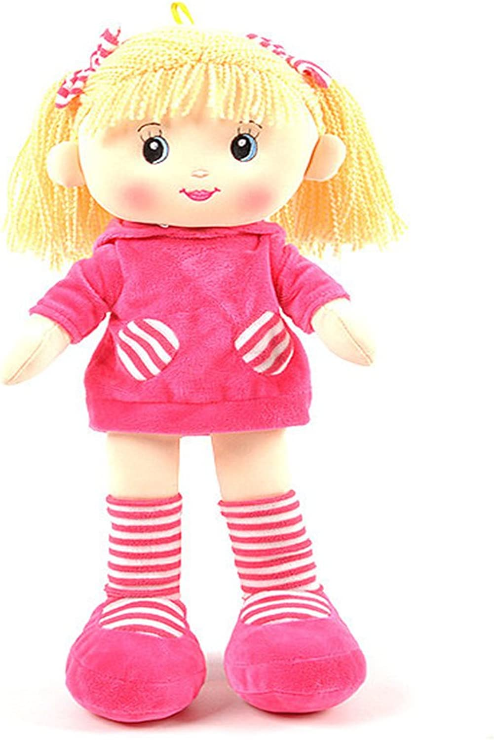 Linzy Paola Rag Doll with Short Dress and High Striped Socks, Magenta 16