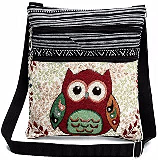 Liraly Women Bags, Embroidered Owl Tote Bags Women Shoulder Bag Handbags Postman Package (B)
