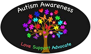CafePress Autism Awareness Tree Oval Bumper Sticker, Euro Oval Car Decal