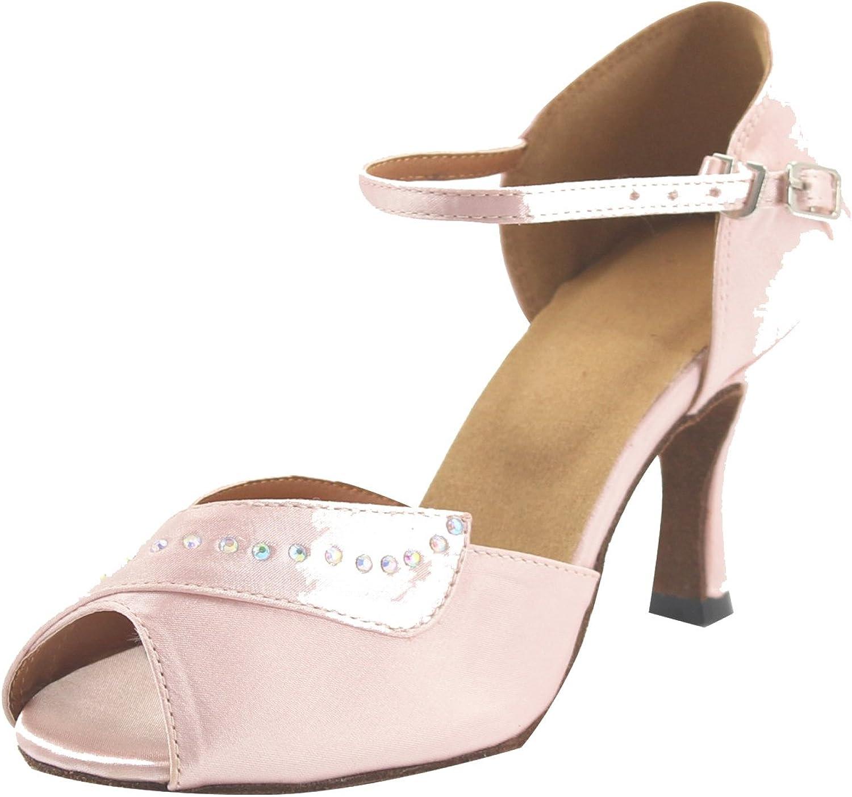MsMushroom Woman's Classical Satin with Beads Dancing shoes 4  Heel