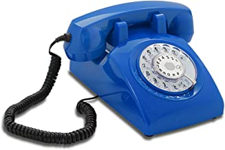 Opis 60s Cable with Classic Italian Telecom Rotary Dial Inlay: Designer Retro Phone / Rotary Dial Telephone / Retro Style Phone / Vintage Telephone / Classic Desk Phone with Rotary Dialler (Blue)
