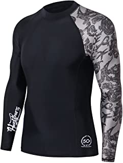 HUGE SPORTS Men's Splice UV Sun Protection UPF 50+ Skins Rash Guard Long Sleeves(Sea Forest XL)