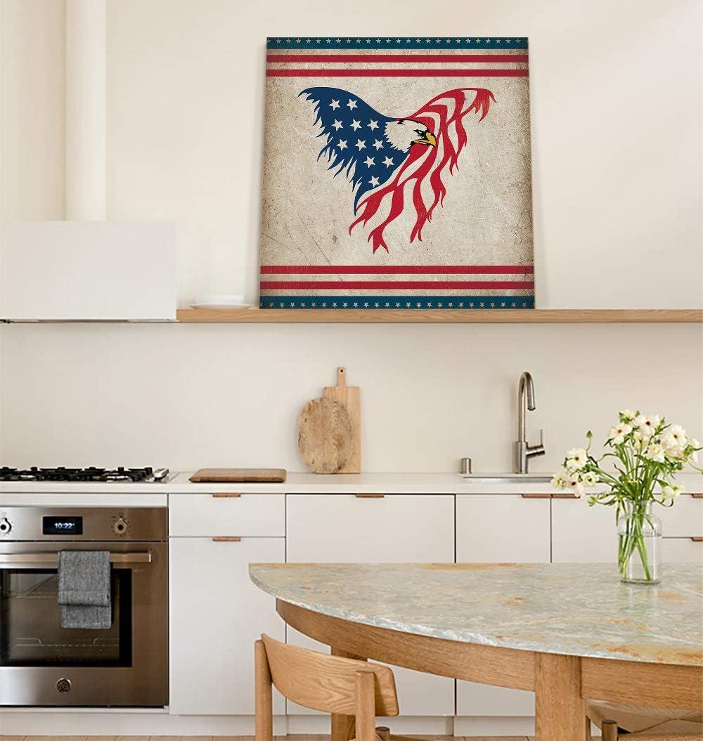 ALAGEO Canvas Print Wall Art Vintage Oil Flags Decor Easy-to-use P USA Eagle supreme
